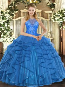 Floor Length Lace Up Sweet 16 Dresses Teal for Military Ball and Sweet 16 and Quinceanera with Beading and Ruffles
