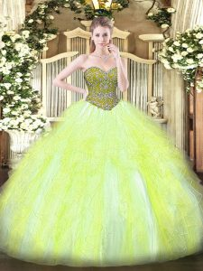 Nice Ball Gowns Sweet 16 Quinceanera Dress Yellow Green Sweetheart Tulle Sleeveless Floor Length Lace Up