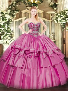 Modest Floor Length Ball Gowns Sleeveless Pink Vestidos de Quinceanera Lace Up