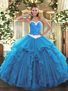 Smart Baby Blue Sleeveless Organza Lace Up Quinceanera Dresses for Military Ball and Sweet 16 and Quinceanera