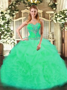 New Arrival Turquoise Sweet 16 Dress Sweet 16 and Quinceanera with Beading and Ruffles Sweetheart Sleeveless Lace Up