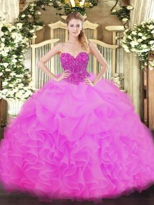 High Class Fuchsia Sleeveless Organza Lace Up Sweet 16 Dresses for Military Ball and Sweet 16 and Quinceanera