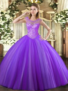 New Arrival Floor Length Lace Up Ball Gown Prom Dress Lavender for Sweet 16 and Quinceanera with Beading