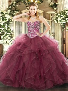 Burgundy Sweetheart Neckline Beading and Ruffles Sweet 16 Dresses Sleeveless Lace Up