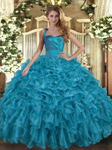 Teal Ball Gowns Halter Top Sleeveless Organza Floor Length Lace Up Ruffles 15th Birthday Dress