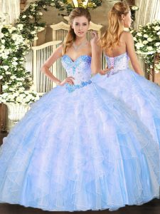 Perfect Organza Sleeveless Floor Length Quinceanera Dresses and Beading and Ruffles