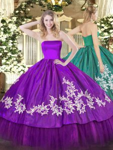 Purple Organza and Taffeta Zipper Sweet 16 Quinceanera Dress Sleeveless Floor Length Embroidery