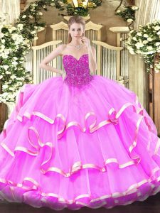 Fuchsia Organza Lace Up Sweetheart Sleeveless Floor Length Quinceanera Dress Lace