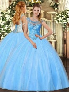 Fashionable Ball Gowns Quince Ball Gowns Baby Blue Scoop Tulle Sleeveless Floor Length Lace Up