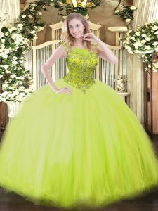 Ball Gowns Vestidos de Quinceanera Yellow Green Scoop Tulle Sleeveless Floor Length Zipper