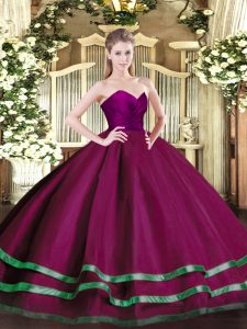 Fuchsia Sweetheart Zipper Ruffled Layers Sweet 16 Dress Sleeveless
