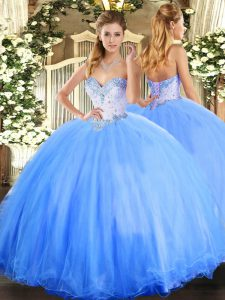 Beautiful Baby Blue Ball Gowns Beading Quinceanera Gowns Lace Up Tulle Sleeveless Floor Length