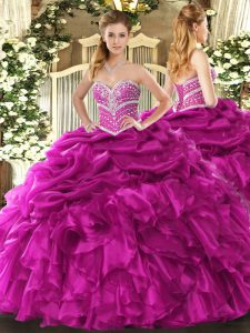 Fuchsia Quinceanera Gowns Military Ball and Sweet 16 and Quinceanera with Beading and Ruffles and Pick Ups Sweetheart Sleeveless Lace Up