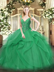 V-neck Sleeveless Quinceanera Gown Floor Length Beading and Ruffles Turquoise Tulle