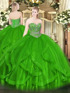 Green Lace Up Vestidos de Quinceanera Beading and Ruffles Sleeveless Floor Length