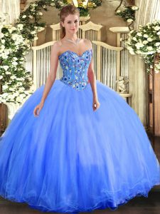Wonderful Blue Ball Gowns Sweetheart Sleeveless Organza and Tulle Floor Length Lace Up Embroidery Ball Gown Prom Dress