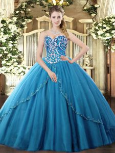 Blue Ball Gowns Tulle Sweetheart Sleeveless Beading Lace Up 15th Birthday Dress Brush Train