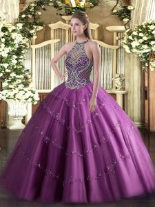 Lilac Ball Gowns Tulle Halter Top Sleeveless Beading Floor Length Lace Up 15th Birthday Dress