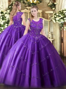 Dazzling Sleeveless Floor Length Beading and Appliques Zipper Sweet 16 Dress with Purple