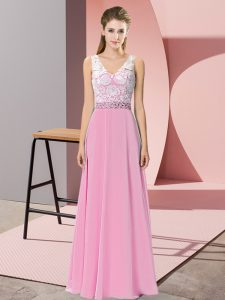 Glamorous Rose Pink Chiffon and Lace Backless Homecoming Dress Sleeveless Floor Length Beading