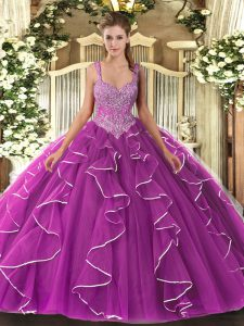 Stunning Floor Length Fuchsia Vestidos de Quinceanera Straps Sleeveless Lace Up