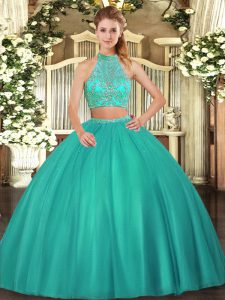 Dramatic Turquoise Halter Top Criss Cross Beading Quinceanera Dresses Sleeveless