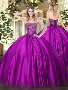 Dazzling Strapless Sleeveless Satin Vestidos de Quinceanera Beading Lace Up