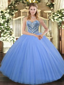 Colorful Tulle Sweetheart Sleeveless Lace Up Beading Quinceanera Dresses in Baby Blue