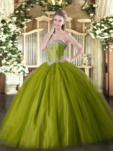 Discount Olive Green Tulle Lace Up Sweetheart Sleeveless Floor Length Quinceanera Dresses Beading