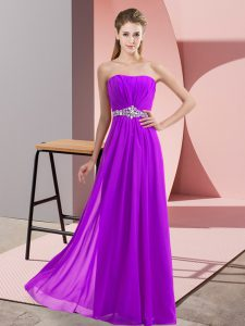Eggplant Purple Sleeveless Chiffon Lace Up Prom Evening Gown for Prom and Party