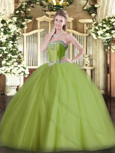 Custom Made Olive Green Sleeveless Tulle Brush Train Lace Up Quince Ball Gowns for Military Ball and Sweet 16 and Quinceanera