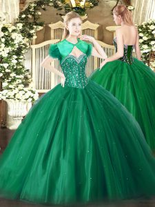 On Sale Sleeveless Tulle Floor Length Lace Up 15 Quinceanera Dress in Dark Green with Beading