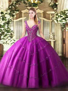 Customized Floor Length Fuchsia Quinceanera Gown V-neck Sleeveless Lace Up