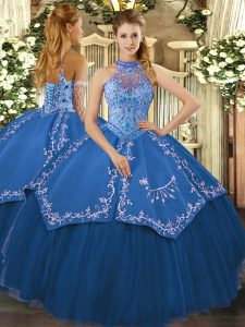 Pretty Sleeveless Tulle Floor Length Lace Up Sweet 16 Dress in Teal with Beading and Embroidery