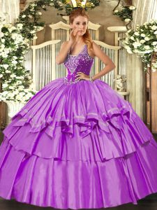 Best Straps Sleeveless Quinceanera Gown Floor Length Beading and Ruffled Layers Lilac Organza and Taffeta