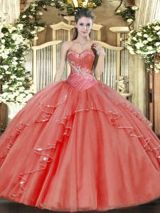 Coral Red Lace Up Quince Ball Gowns Beading and Ruffled Layers Sleeveless Floor Length