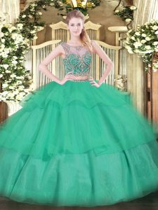 Turquoise Lace Up Sweet 16 Dresses Beading and Ruffled Layers Sleeveless Floor Length