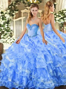 Baby Blue Ball Gowns Sweetheart Sleeveless Organza Floor Length Lace Up Beading and Ruffled Layers Quince Ball Gowns