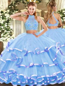 Dynamic Aqua Blue Two Pieces Beading and Ruffled Layers 15 Quinceanera Dress Criss Cross Tulle Sleeveless Floor Length