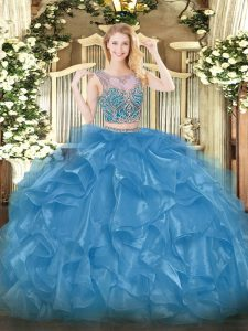 Sweet Baby Blue Lace Up Scoop Beading and Ruffles Vestidos de Quinceanera Organza Sleeveless