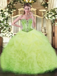 Sexy Yellow Green Organza Lace Up Sweet 16 Dress Sleeveless Beading and Ruffles