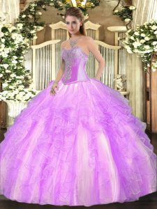 Lilac Sleeveless Floor Length Beading and Ruffles Lace Up Quinceanera Gowns