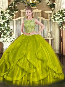 Olive Green Scoop Lace Up Beading and Ruffles 15th Birthday Dress Sleeveless