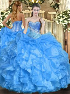Cute Baby Blue Sleeveless Beading and Ruffles Floor Length Quince Ball Gowns