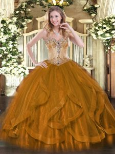 Ball Gowns Quince Ball Gowns Brown Sweetheart Tulle Sleeveless Floor Length Lace Up