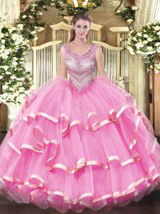 Cute Organza Sleeveless Floor Length 15 Quinceanera Dress and Beading and Ruffles