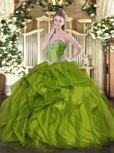 Shining Sweetheart Sleeveless Sweet 16 Dresses Floor Length Beading and Ruffles Olive Green Organza