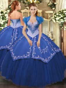 Eye-catching Floor Length Blue Vestidos de Quinceanera Satin and Tulle Sleeveless Beading and Embroidery