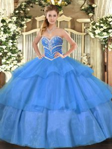 Decent Floor Length Lace Up Sweet 16 Dresses Blue for Military Ball and Sweet 16 and Quinceanera with Beading and Ruffled Layers
