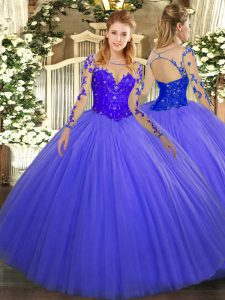 Tulle Long Sleeves Floor Length Sweet 16 Dresses and Lace